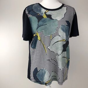 Tory Burch Floral Stripe Tee Womens Size Large